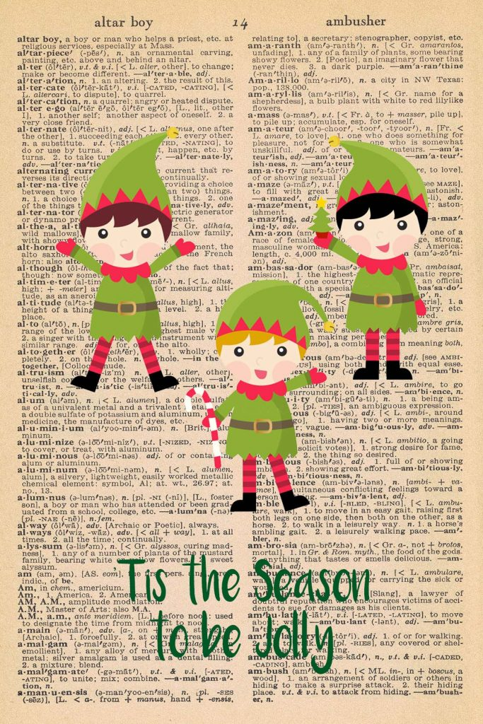 Free Christmas Dictionary Page Printable Elves Tis the Season Preview
