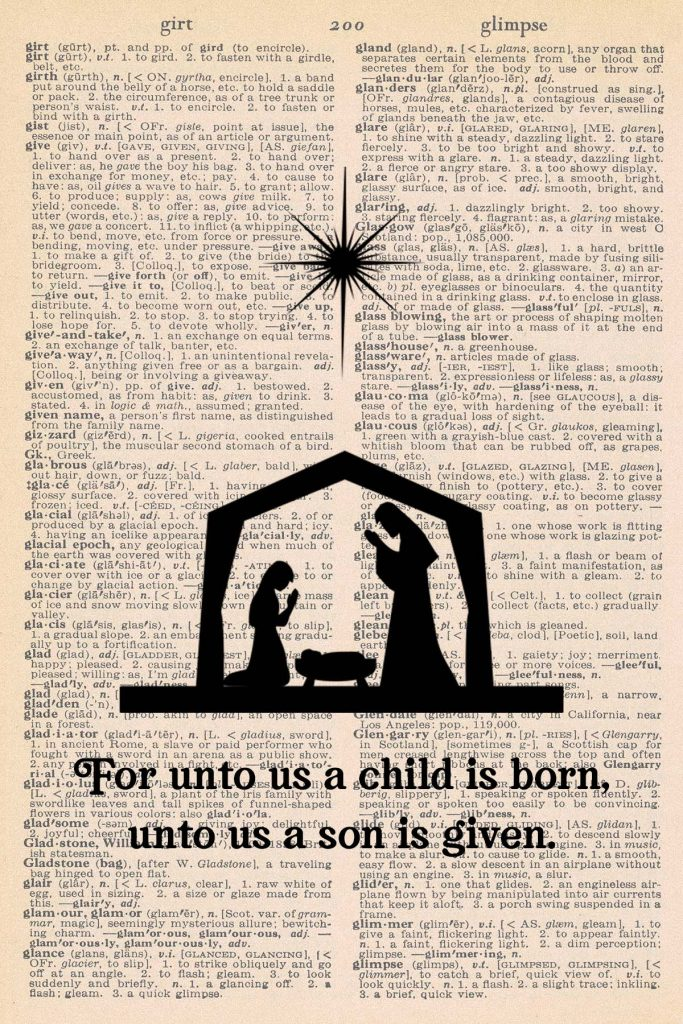 Free Christmas Dictionary Page Printable Nativity Silhouette Preview
