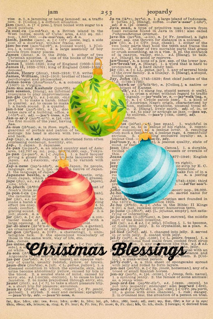 Free Christmas Dictionary Page Printable Ornaments Preview