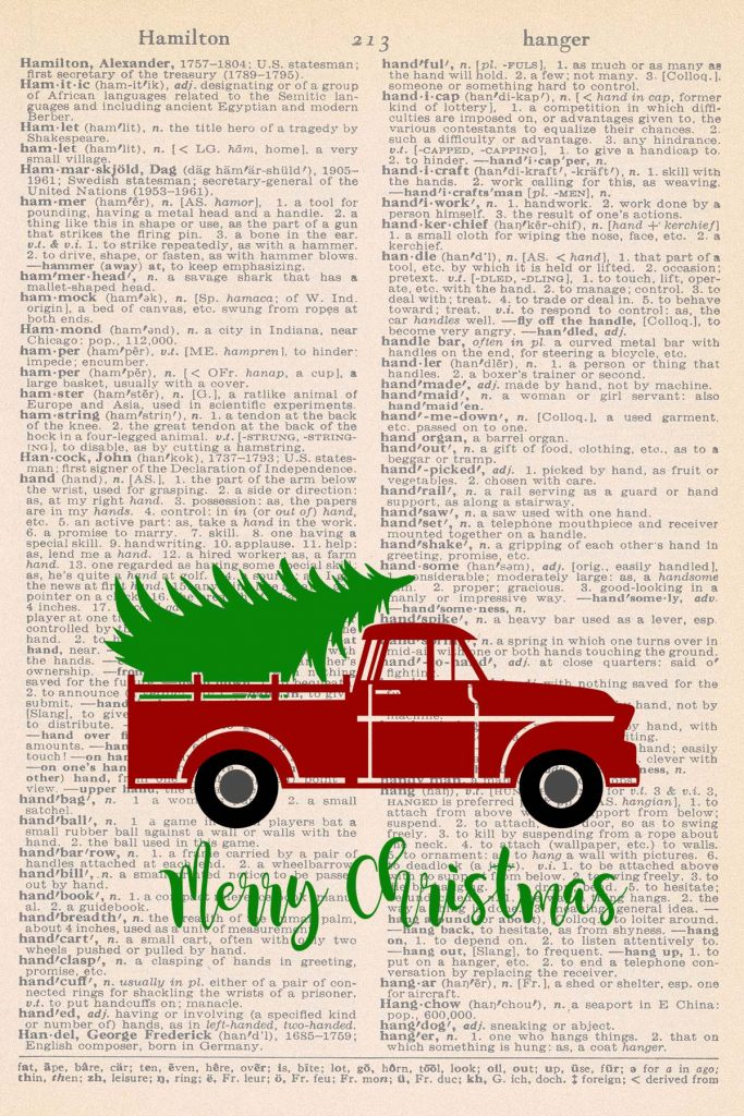 Free Christmas Dictionary Page Printable Truck With Tree Preview