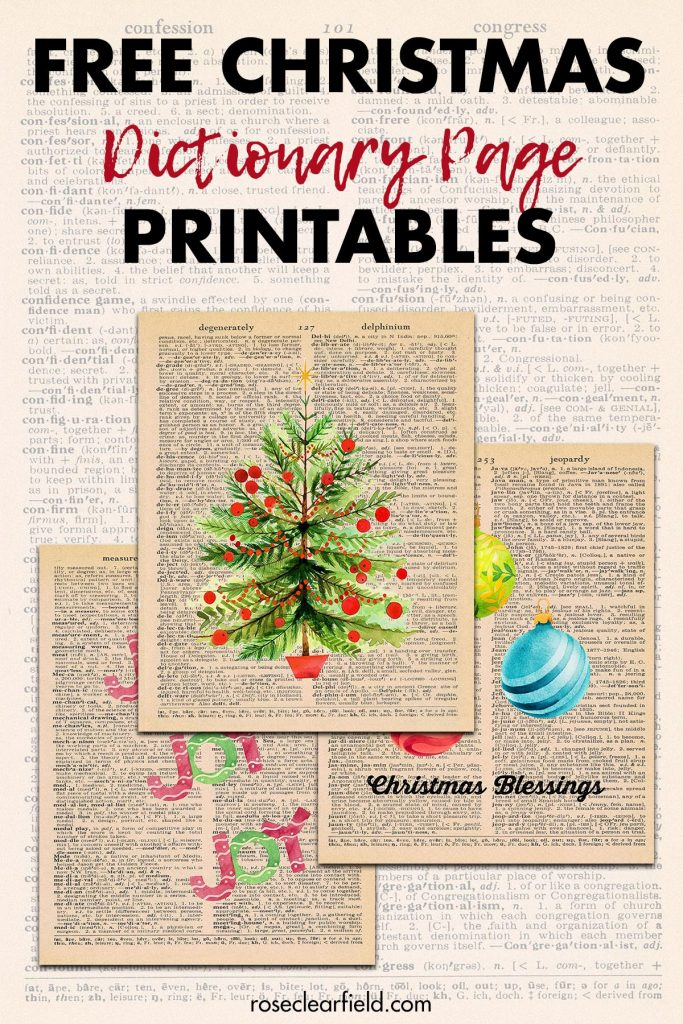 Free Christmas Dictionary Page Printables