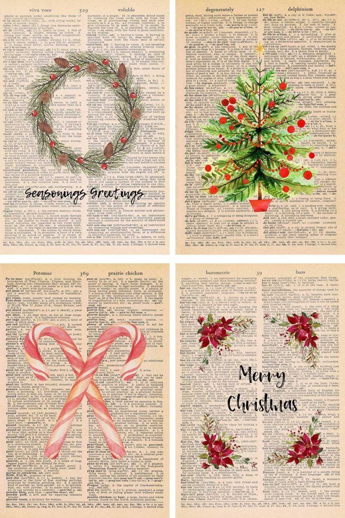 Free Christmas Dictionary Page Printables Collage