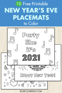 10 Free Printable New Year's Eve Placemats to Color