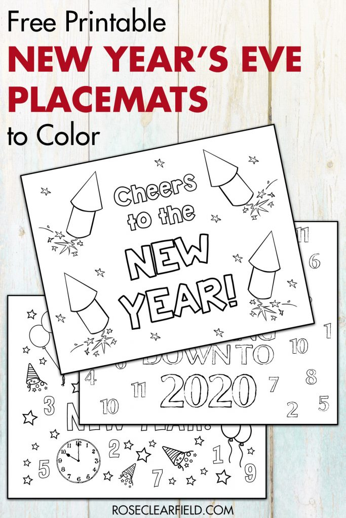 Free Printable New Year's Eve Placemats to Color