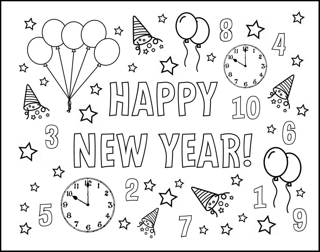 Happy New Year Assorted Designs Printable New Year's Eve Placemat to Color