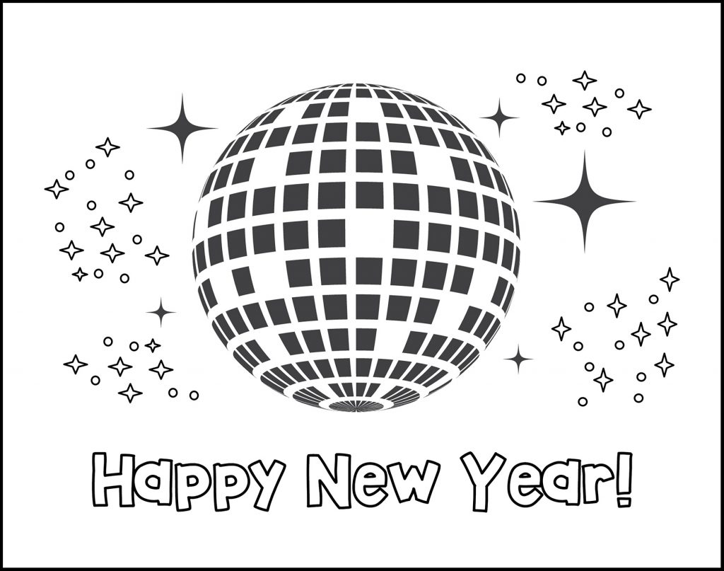 Happy New Year Disco Ball Printable New Year's Eve Placemat
