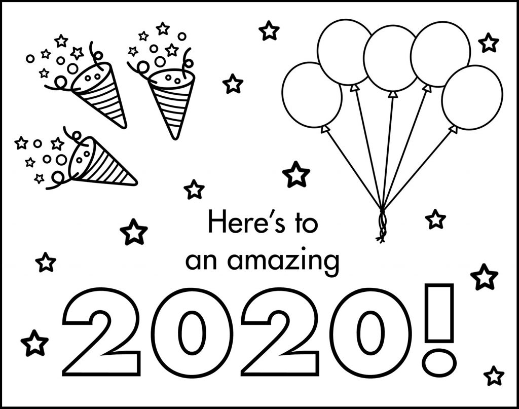 Here's to an Amazing 2020 New Year's Eve Placemat to Color