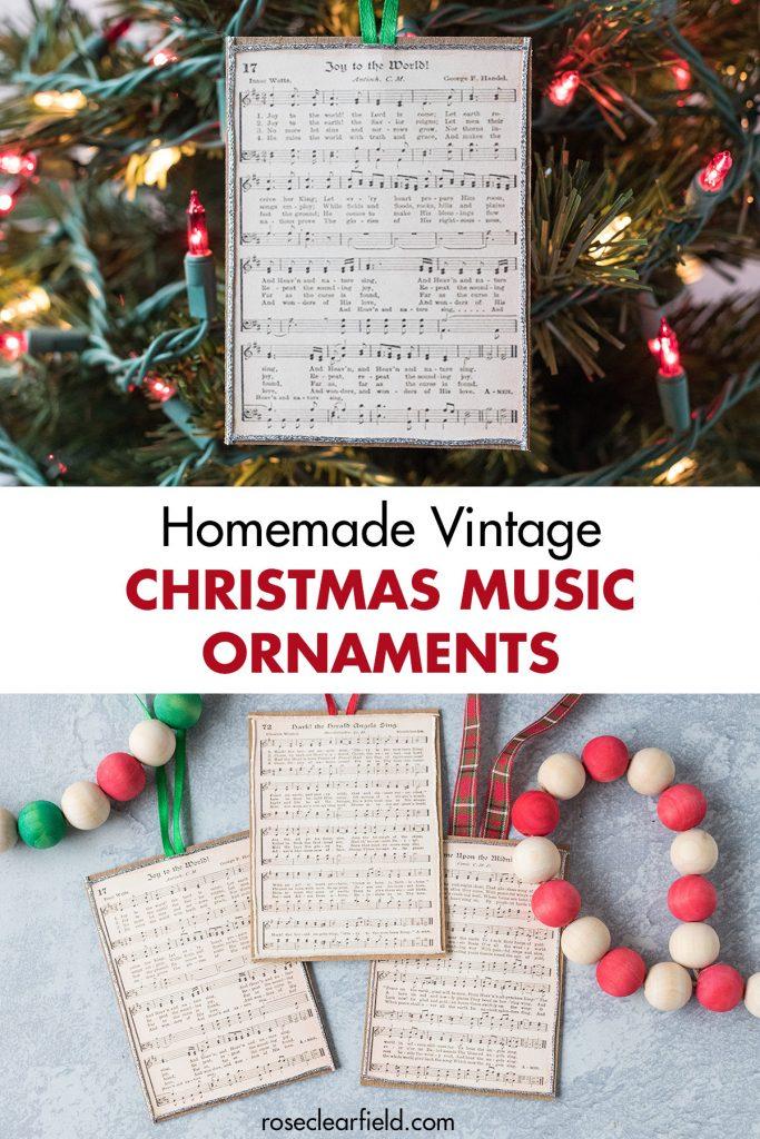 Homemade Vintage Christmas Music Ornaments