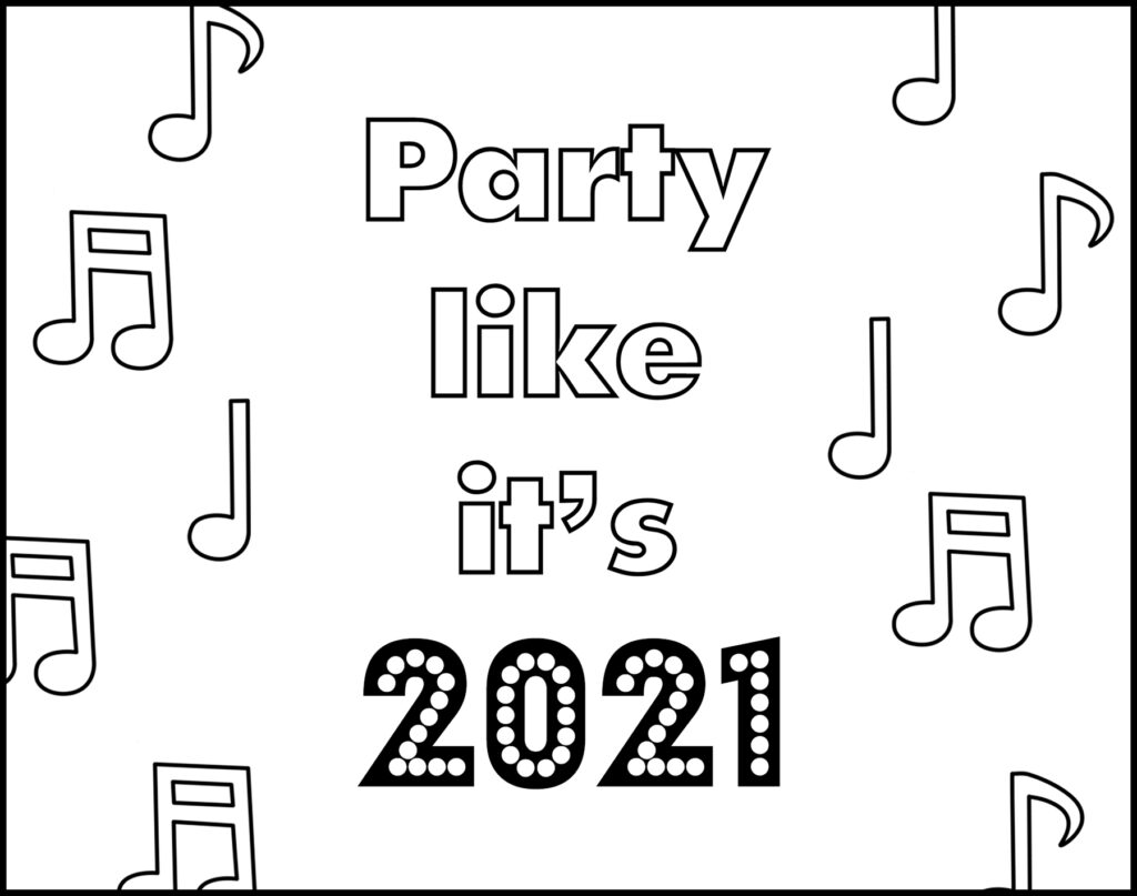 Party Like It's 2021 New Year's Eve Printable Placemat