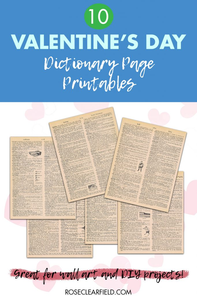 10 Valentine's Day Dictionary Page Printables