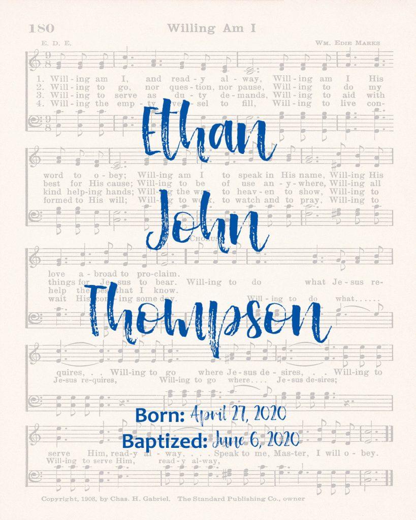 Baptism Custom Name Sheet Music Wall Art