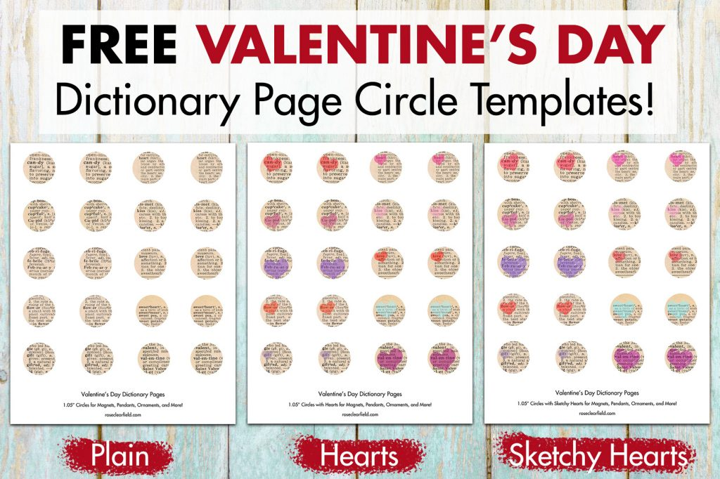 DIY Valentine's Day Dictionary Page Magnets Circle Templates Collage