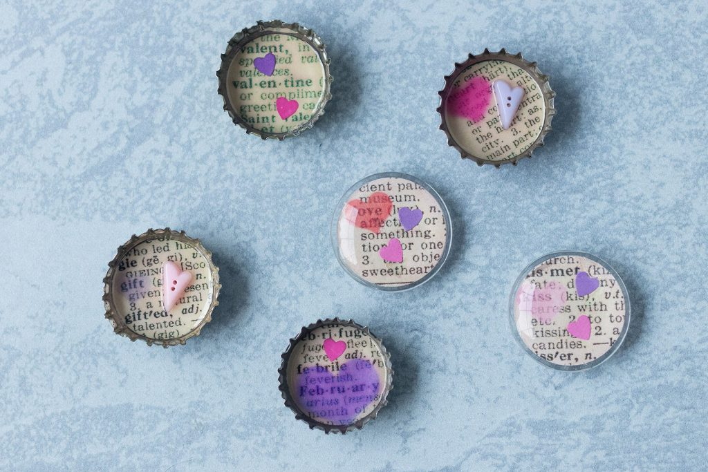 DIY Valentine's Day Dictionary Page Magnets Rose Clearfield