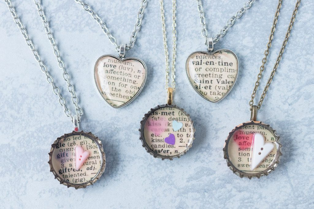 DIY Valentine's Day Dictionary Page Pendant Necklaces