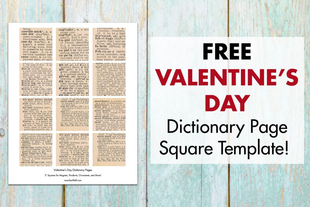DIY Valentine's Day Dictionary Page Magnets Square Template