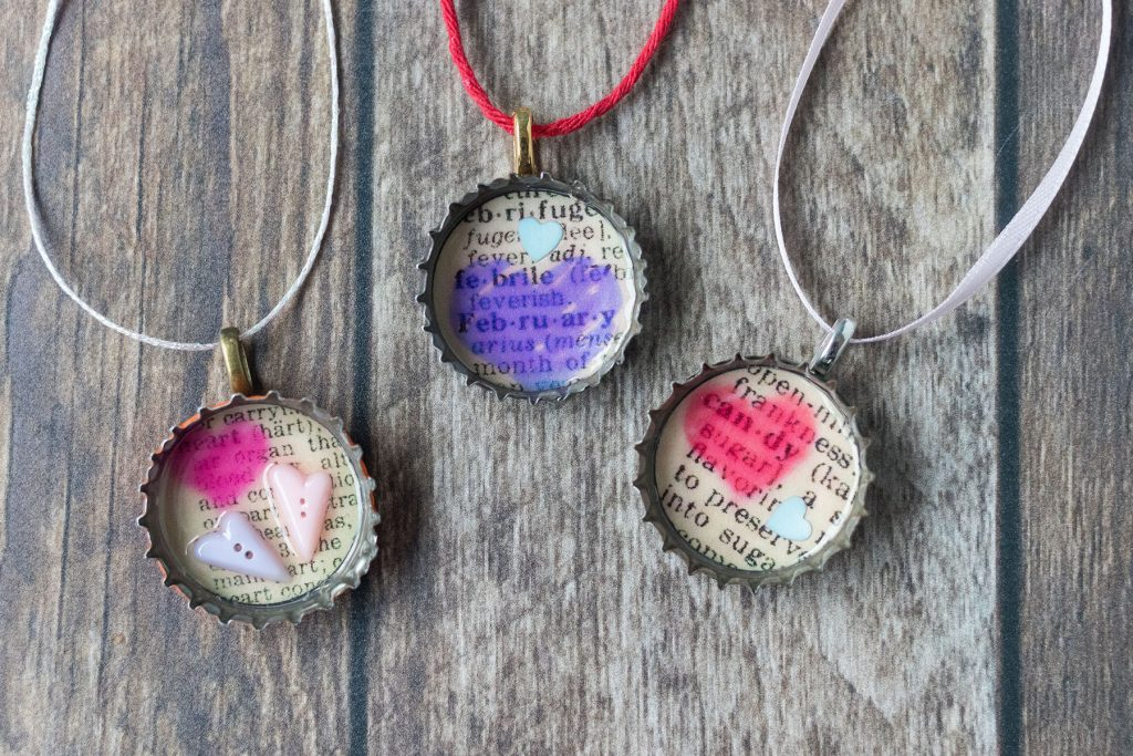 DIY Valentine's Day Bottle Cap Ornaments