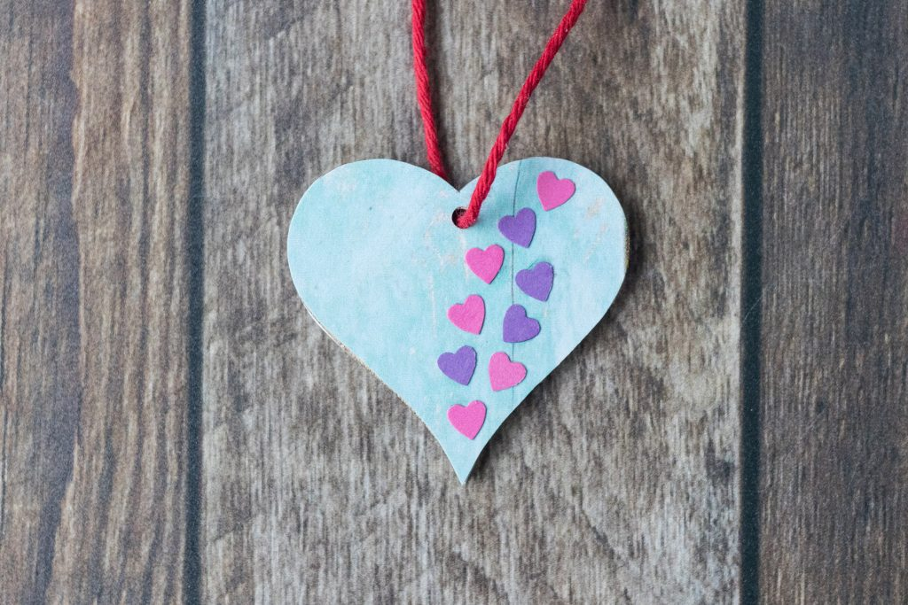 DIY Valentine's Day Wooden Heart Ornaments