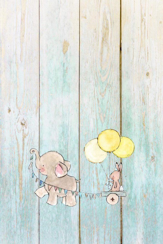 Elephant Nursery Decor Banner and Balloons Aqua Distressed Wood 8x10 Preview