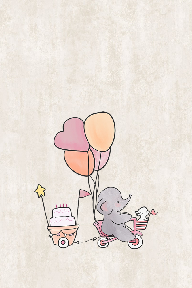 Elephant Nursery Decor Bike with Cake and Balloons Distressed Stone