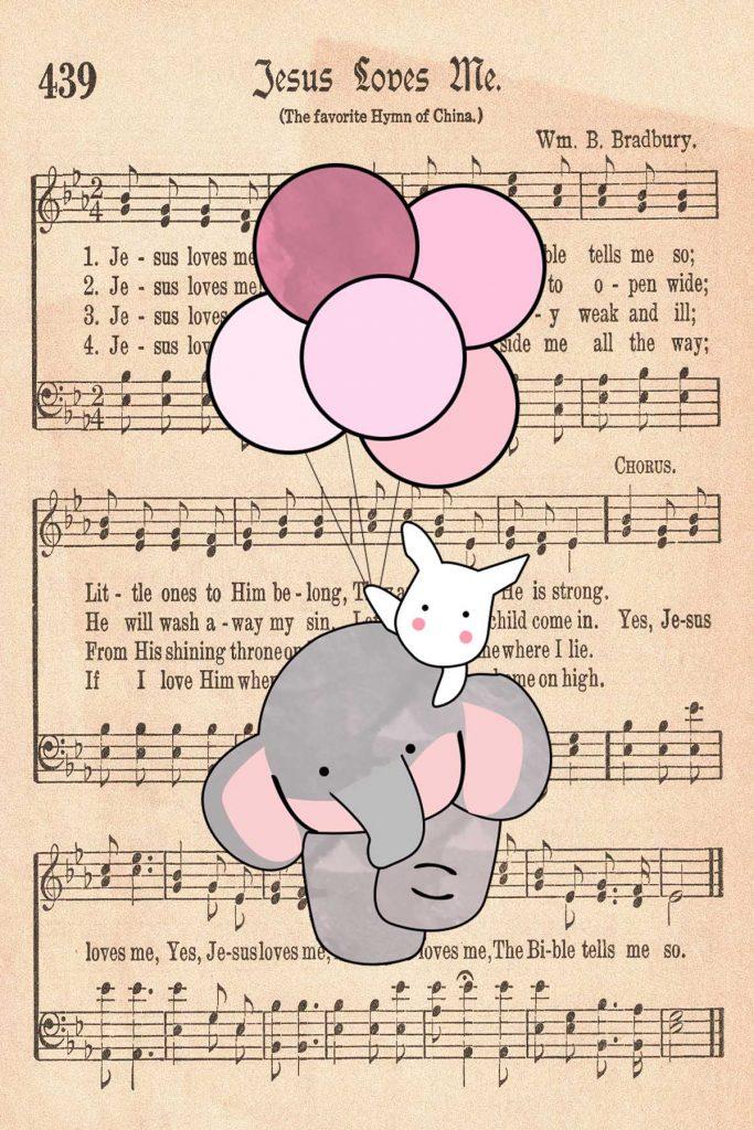 Elephant Nursery Decor Rabbit Holding Balloons Jesus Loves Me