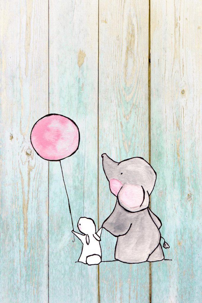 Elephant Nursery Decor Rabbit Holding a Ballon