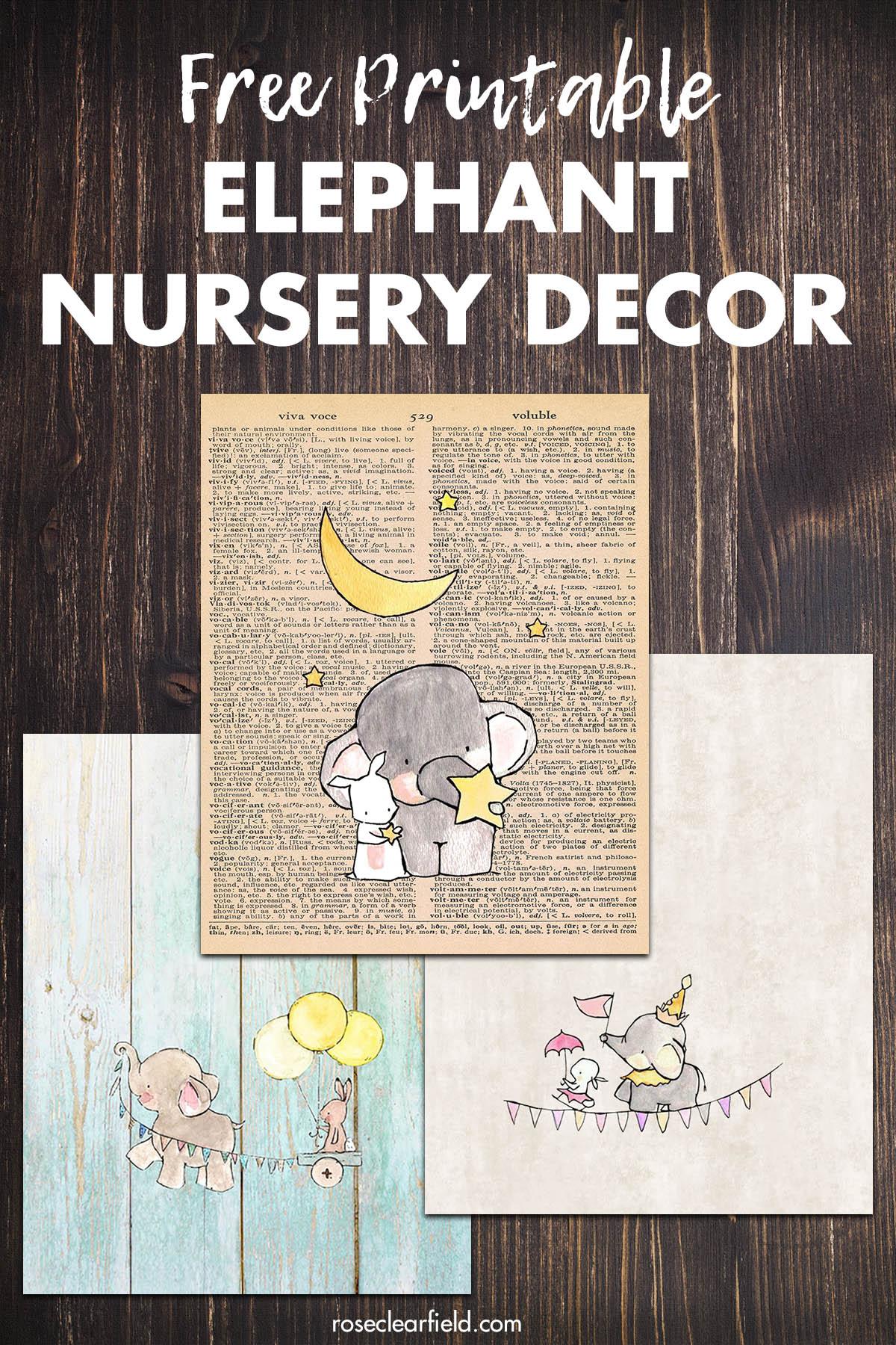 Free Printable Elephant Nursery Decor