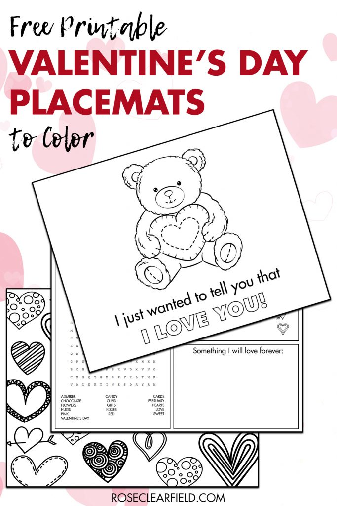 Free Printable Valentine's Day Placemats to Color