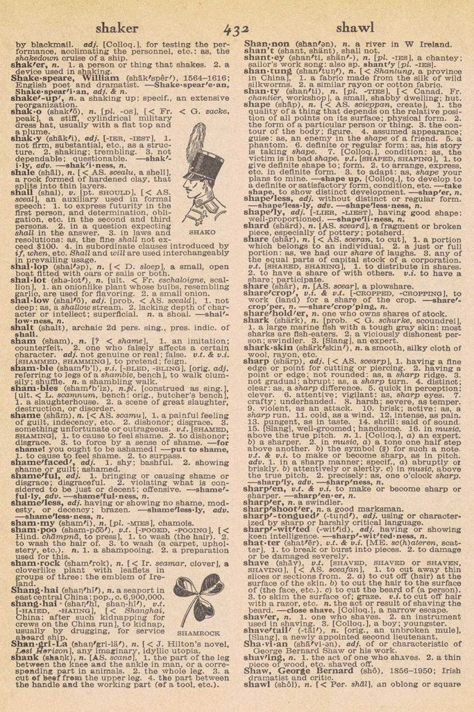 Shamrock Vintage Dictionary Page