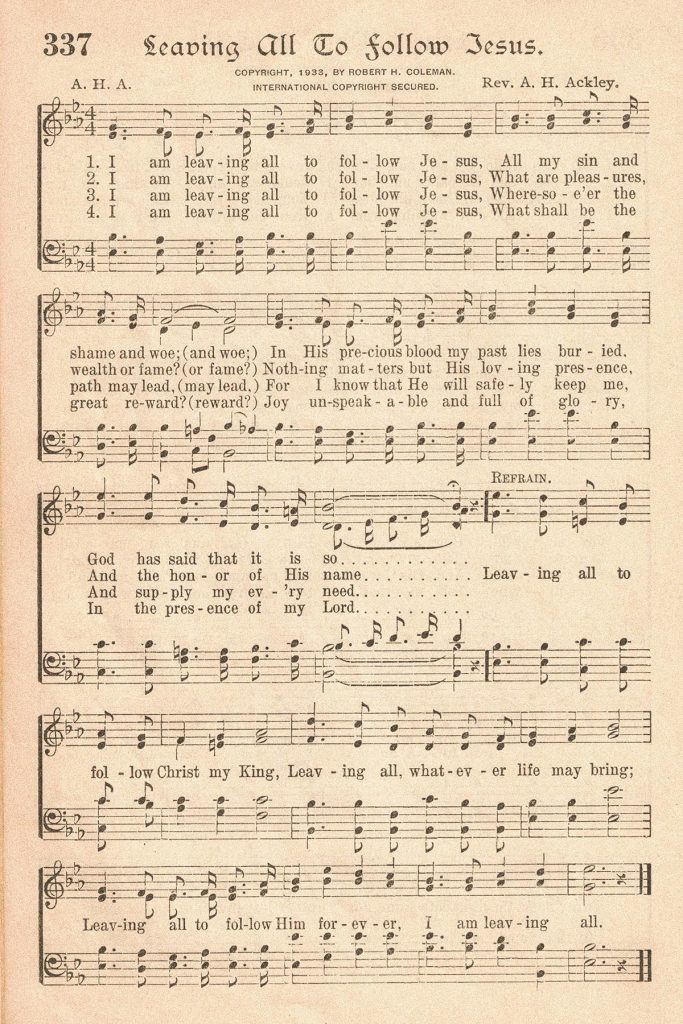 The American Hymnal Leaving All I Follow to Jesus