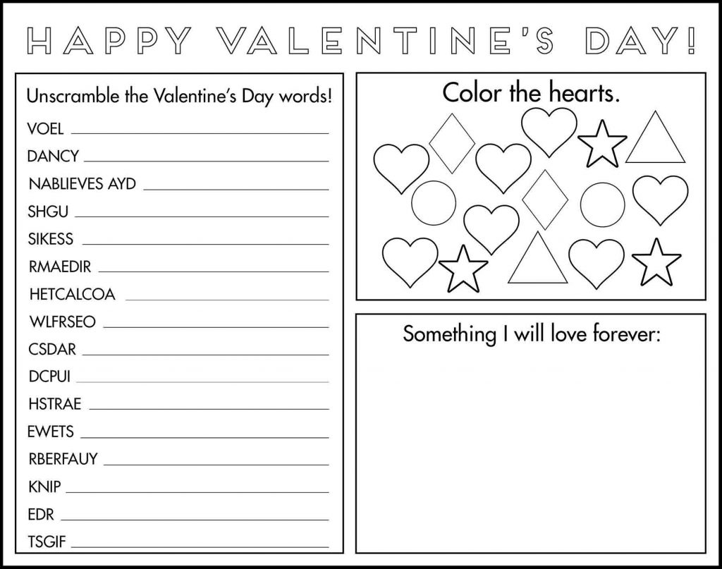 Valentine's Day Game Placemat