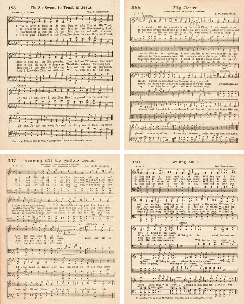 Vintage Hymns About Baptism 8x10 Collage