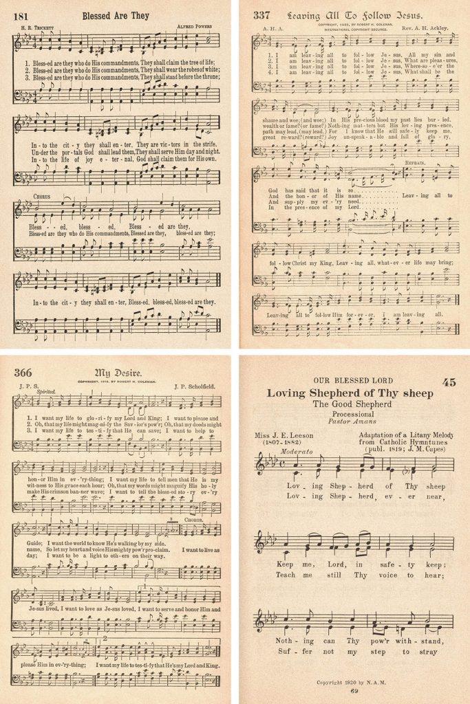 Vintage Hymns for Baptism Collage