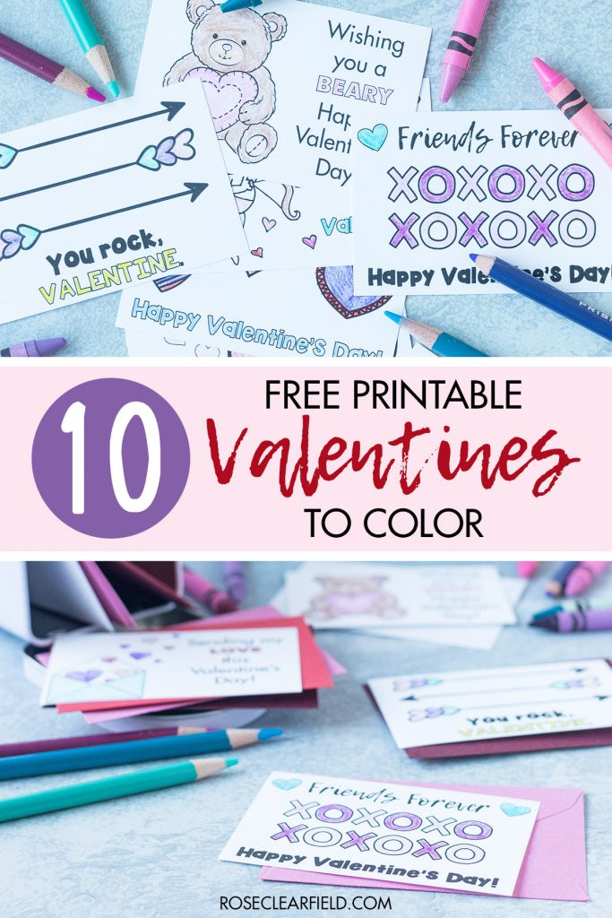 10 Free Printable Valentines to Color