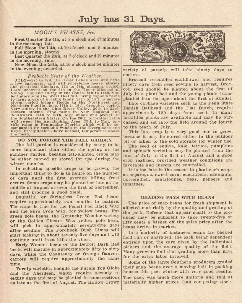 Agricultural Almanac 1938 July Info