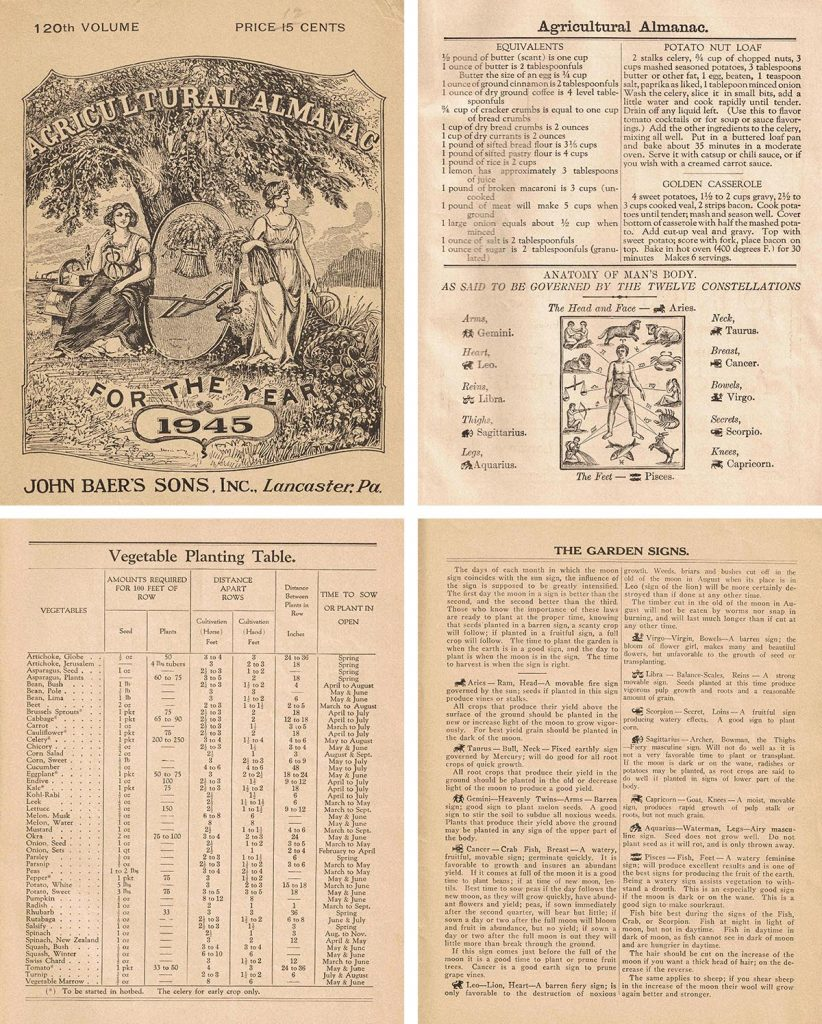 Agricultural Almanac Pages Collage