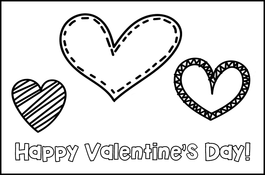 Free Printable Valentines to Color Assorted Hearts Happy Valentine's Day