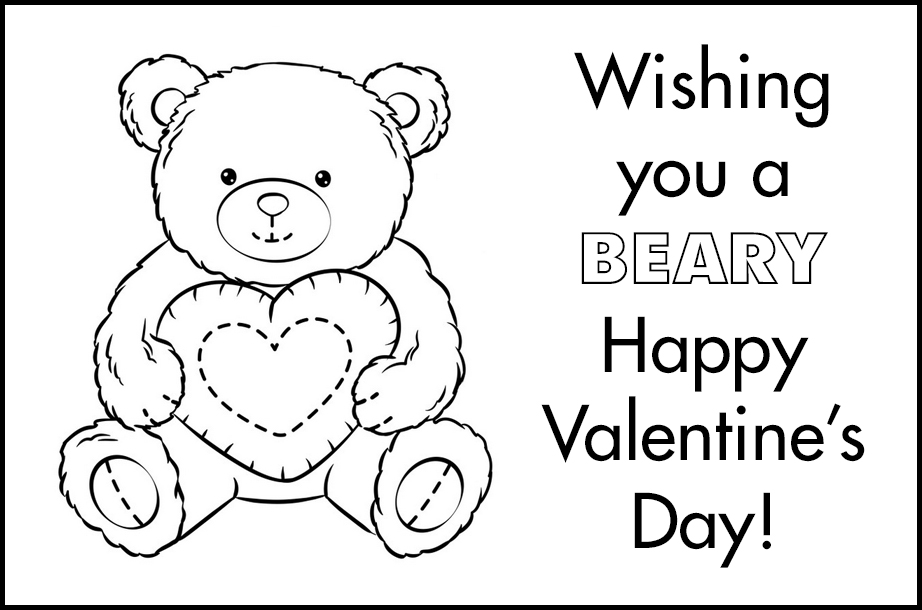 Free Printable Valentines to Color Beary Happy Valentine's Day