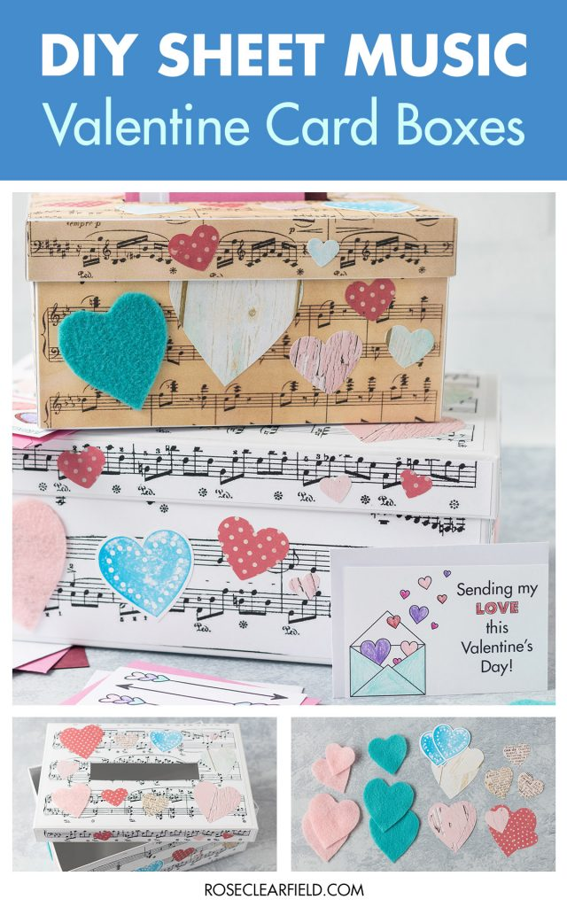 DIY Sheet Music Valentine Card Boxes