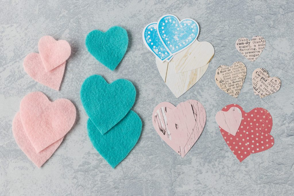 Felt and Paper Hearts for a DIY Project