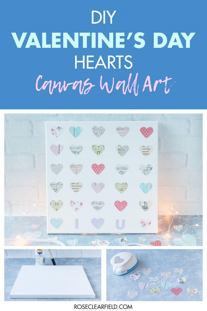 DIY Valentine's Day Hearts Canvas Wall Art