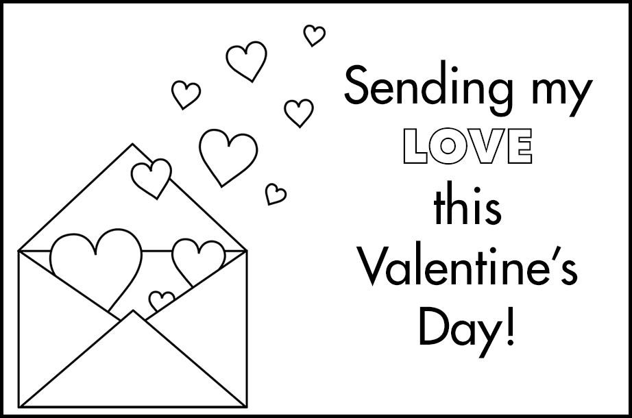Free Printable Valentines to Color Envelope With Hearts Sending My Love