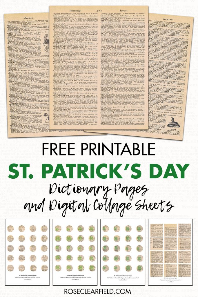 Free Printable St. Patrick's Day Dictionary Pages and Digital Collage Sheets