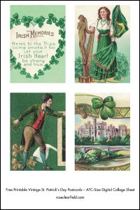 Free Printable Vintage St. Patrick's Day Postcards ATC Size Preview