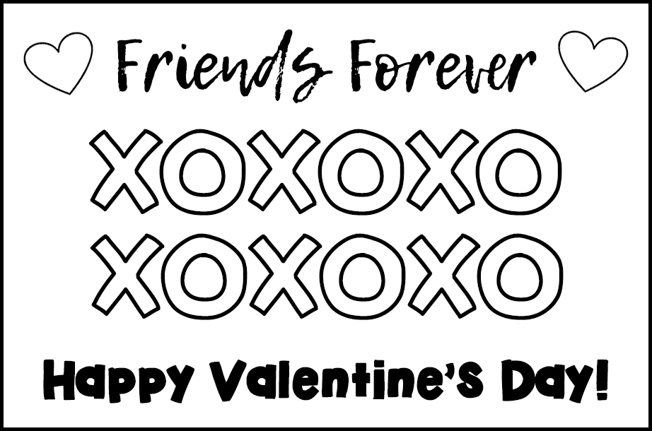 Free Printable Valentines to Color Friends Forever XOXO