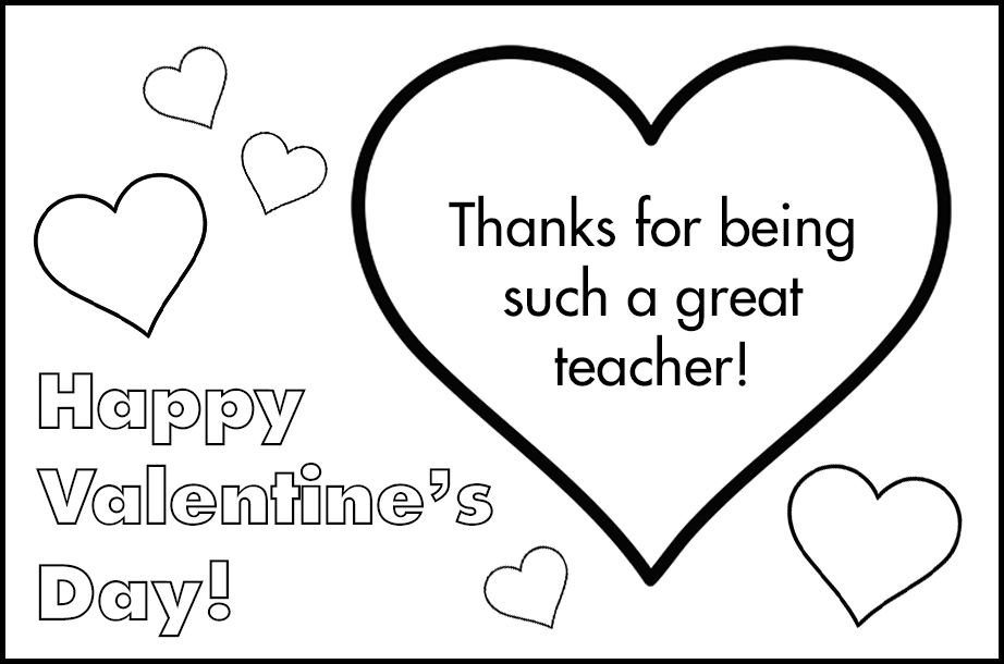 Free Printable Valentines to Color Hearts Great Teacher