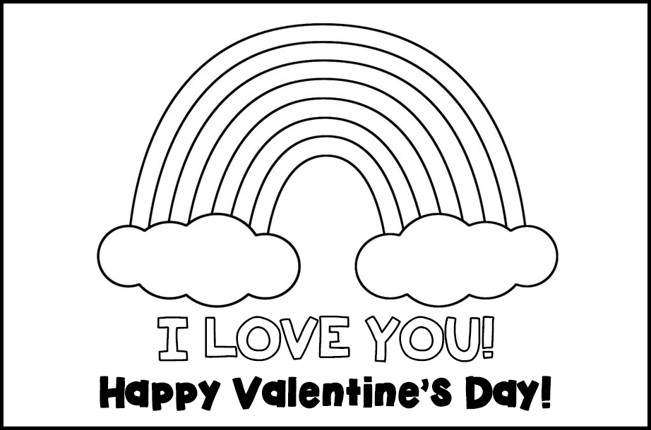 Free Printable Valentines to Color Rainbow I Love You