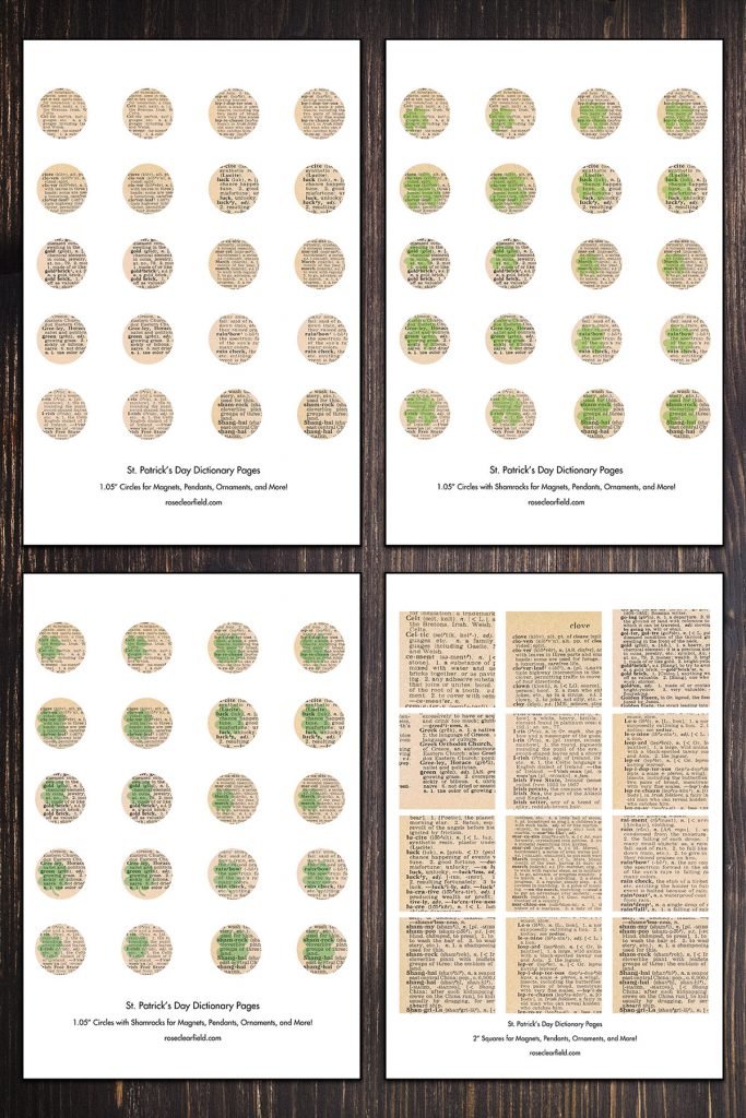 St. Patrick's Day Dictionary Pages Circle and Square Templates Collage