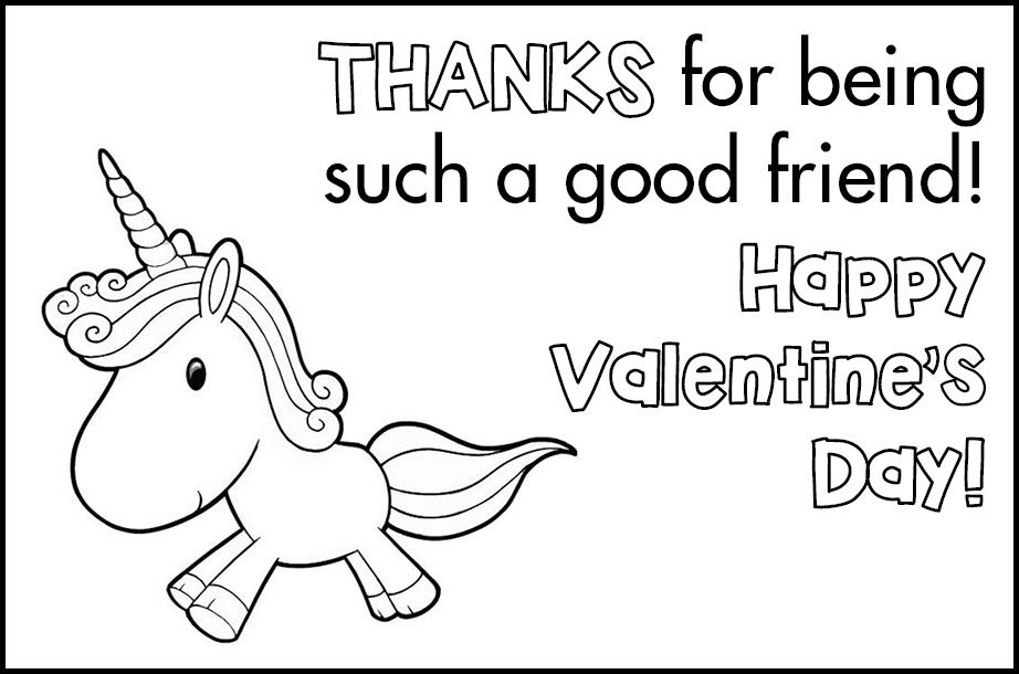 Free Printable Valetines to Color Unicorn Good Friend