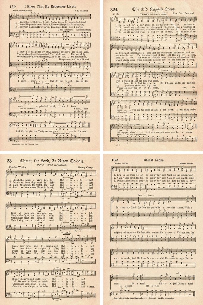 Vintage Hymns for Easter Collage
