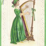 Vintage St. Patrick's Day Postcard Girl Playing Harp